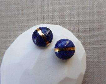 Gold Lined Glazed Dome Stud Earrings SALE