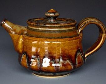 Dark Umber Ceramic Teapot Pottery Stoneware Tea Pot Handmade Teapot C