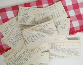 Vintage Recipes Hand Typed - Baking - Cooking - Mixed Media, Collage Art, Supplies - 92 Recipes