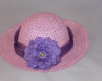 Tea Party Hat - Pink Easter Bonnet with Lavender Tulle - Girls Sun Hat - Pink Easter Hat - Sunday Dress Hat - Derby Hat - 1615