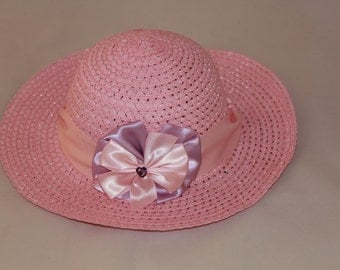 Tea Party Hat - Pink Easter Bonnet with Satin Ribbon - Girls Sun Hat - Easter Hat -  Birthday Hat - Sunday Dress Hat - Derby Hat  1664