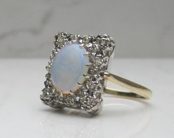 Vintage 14k Yellow and White Gold 2.45 Ct. Total Gem Weight Natural Diamond and Natural Opal Cocktail Statement Ring, Size 6.5