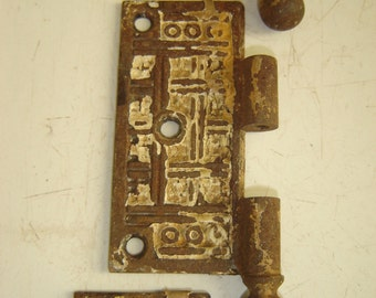 Antique Door Hinge Plate ~ Set of 3 Matching ~ Hardware ~ Victorian ~ Deco ~ Ornate ~ With Attached Finials ~ Chippy Shabby FABULOUS
