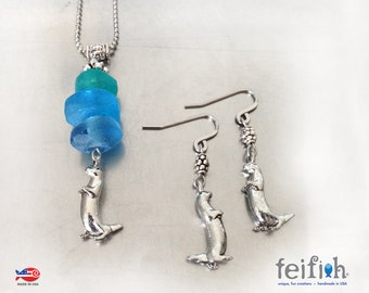 Ombre Otter Necklace and Earrings
