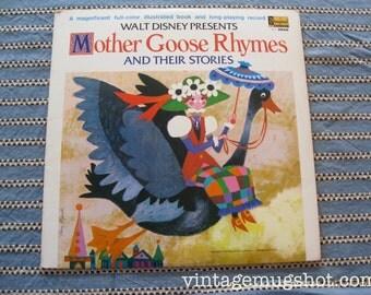 Walt Disney Mother Goose Rhymes and Stories Vintage Vinyl lp Record with book Disneyland Records 1969