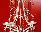 Shabby Chic White Paris Flea Market Crystal Hanging Chandelier w/ Prisms Holds 4 Candles