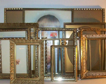 18 Vintage Gold Metal Picture Frames Shabby Chic Wedding Decor