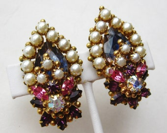 Vintage 40s Original by Robert Pink Jeweled Rhinestone & Pearl Clip Earrings