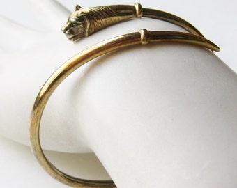 Vintage Joachim S'Paliu Gold Vermeil Sterling Silver Lion Coil Wrap Bangle Bracelet