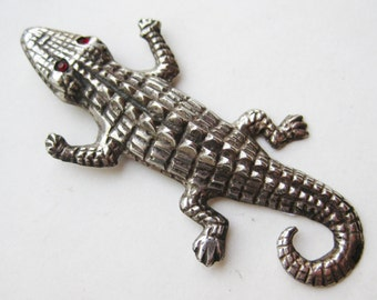 Vintage Mexican Sterling Silver Taxco Figural Alligator Brooch Pin Red Jeweled Eyes