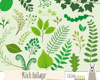 50% Off - Leaves Clipart, Leaf Clipart, Foliage Clip Art, Floral Clipart, Laurel Clip Art, Greenery Clipart, Vines, Commercial Use