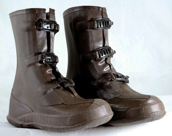 Boys Brown Galoshes - Child Size 7 - Authentic 1950s - Boy's 50s Rain Boots - Waterproof Rubber - Mid Century Shoes - NOS Deadstock - 47001