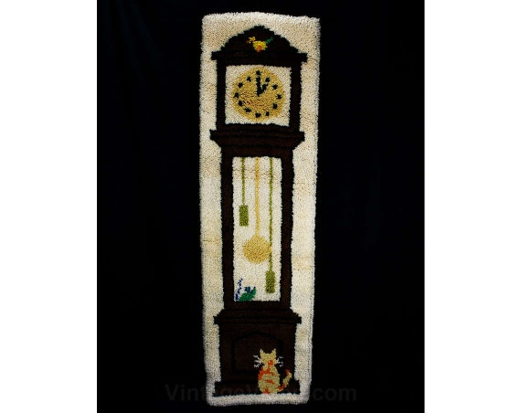 Grandfather clock wall hanging 5 feet tall hooked rug wall - Wall hanging grandfather clock ...