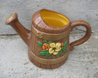 vintage ceramic planter watering can planter hand painted 1970s kitsch boho gift idea movie prop