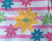 Retro Pink Striped Floral Print Cotton Fabric, Yellow, Green, Yellow, Pink Flowers 2 2/3 Yards X0552