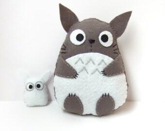 very cute big totoro felt plushie and small white totoro plush