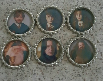 6 x Harry Potter Philosophers Stone  Flattened Bottle Caps - Great for Jewellery, Bows, Cards, Magnets