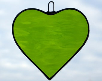 Stained Glass hanging ornament (Love Heart) moss green rippling water glass