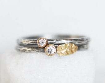 Diamond Leaf Stacking Ring Set - 18k Gold and Silver Stack Rings - Set of 2 Diamond Stack Rings - Eco-Friendly Recycled