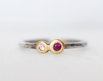 Ruby Sapphire Pebble Ring -  18k Gold and Sterling Silver Stacking Ring - You and I Ring - Eco-Friendly Recycled