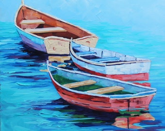Boat Painting, Boat Art, Original Oil Painting on canvas, 18x18 Free Floating, Boats, Seascape Painting, Impressionism by Rebecca Beal