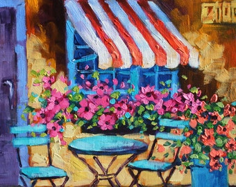 Art, Oil Painting, Original Painting, Cafe Canvas Art, Flower Art, Landscape oil painting by Rebecca Beal