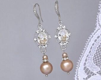 Champagne Pearl Earrings, Vintage Bridal Earrings, Pearl Wedding Jewelry, Bridesmaid Earrings, Crystal & Pearl Earrings, AISHA