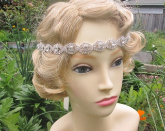 Rhinestone headband,  Rhinestone  Head tie, Head piece, Bridal hair accessories, tie on headband, rhinestone sash