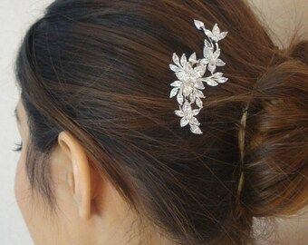 Bridal Zirconia Crystal Hair Comb, Wedding Jewelry, Small Silver Comb, Agnes - Ships in 1 business Day