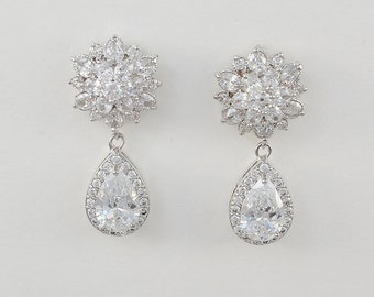 Bridal Clear Cubic Zirconia Stud Earrings, Drop Earrings, Silver, Rose Gold, Violet Earrings - Ships in 1-3 Business Days