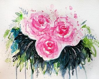 "Bloom || Original Abstract Floral Watercolor 11x15"""