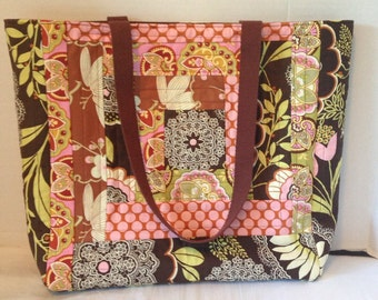 Quilted Patchwork Tote Bag - Library Bag - brown and pink Amy Butler Lacework fabrics
