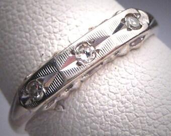 Antique Diamond Wedding Ring Band Vintage White Gold 1950