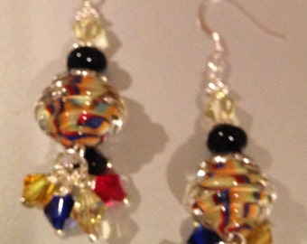 Ribbed twisted glass earrings