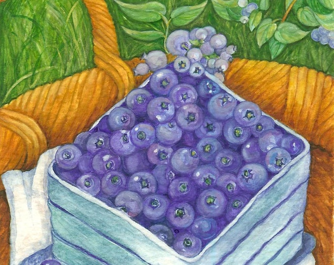 Blueberries Watercolor 9x12  Print
