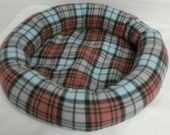 Blue Fleece Plaid Pet Bed Toy Size Dogs Cats Handmade Poly Fil Fiber Stuffed Sides Washable