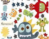 Murals, Monsters Wall Decals, Play Room, Nursery art decor, baby room wall decals, green, blue, yellow, red, orange, wall Stickers playroom