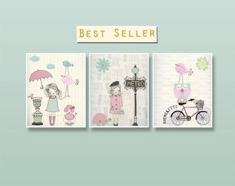 Nursery art Baby room decor French decor nursery wall art Paris Metro Shabby chic Vintage style nursery Pink Green Aqua Mint Umbrella Bike