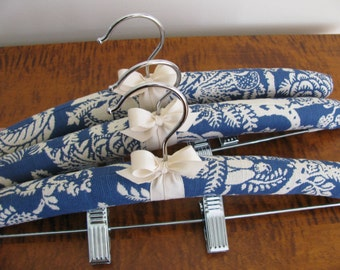 Padded Hangers, Indigo Floral Clip Hangers, Padded Hangers w|Clips, Blue Bottom Hangers, Hangers with Clips, Covered Pant Hangers