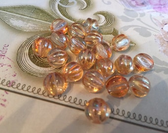 8mm Copper Flash on clear Czech Glass Beads Fluted Melon Glass Beads 20 pcs.
