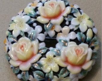 Vintage Toshikane Brooch or Pendant Floral Wreath Japan Porcelain