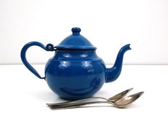 Small Blue Enamel Teapot / Tea Kettle