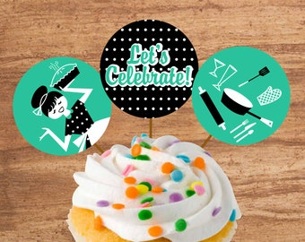 Instant Download 50s Housewife Party Cupcake Toppers or Craft Circles