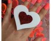 Heartbreaker white/red glitter ring (Ready to Ship)