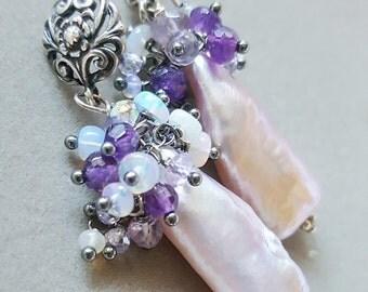 Blush Pink Biwa Pearl Post Earrings with Ethiopian Opal Amethyst Gemstone Cluster Earrings on Oxidized Sterling Silver