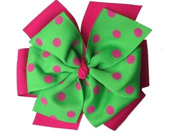 Magenta and Apple Green with Polka Dot Extra Large Layered Pinwheel Bow - Pink and Green Bow - Polka Dot