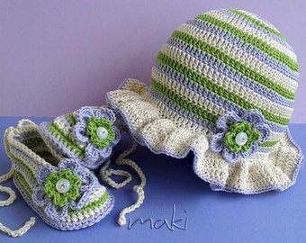 Crochet pattern - Colorful Spring baby crochet set hat with booties. Permission to sell finished items.