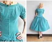 1950s Dress // Blue Velvet Party Dress // vintage 50s dress