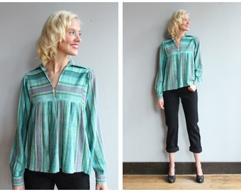 1970s Blouse // Indian Stripe Cotton Blouse // vintage 70s Indian blouse