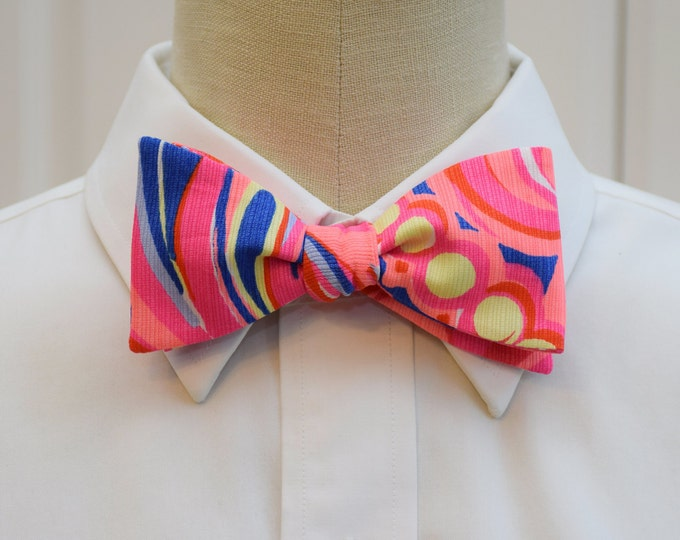 Men's Bow Tie, Reef Retreat, bright coral/indigo/yellow Lilly bow tie, groomsmen/groom bow tie, wedding party wear, Carolina Cup bow tie